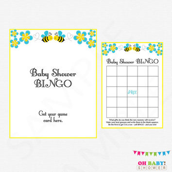 Blue Bee Baby Shower Bingo Game, Honey Bee Baby Shower, Bumble Bee Baby Shower, Printable Boy Baby Shower Bingo, Bee Bingo, DOWNLOAD, BB01