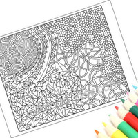 Zentangle Inspired Coloring Page Printable PDF by JoArtyJo on Etsy