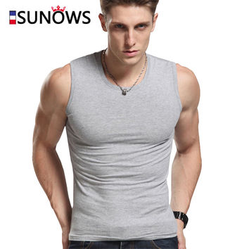 Men's Tank Tops Fashion 100% Cotton Brand Sleeveless Undershirts For Male Bodybuilding Tank Tops White Casual Summer Vest m01