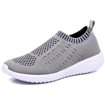 Athletic Flyknit Breathable Running Shoes - Grey