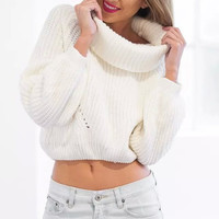 White Turtleneck Knitted Sweater