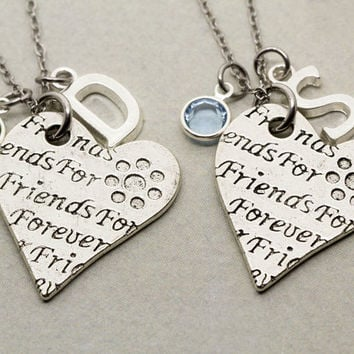 Best Friend Gift | 2 Best Friends Forever Necklaces | Gift for Best Friend | Personalized Birthstone Jewelry | Custom Monogram Jewelry