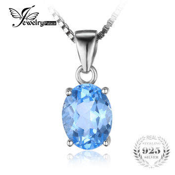JewelryPalace Oval 2.1ct Natural Sky Blue Topaz Birthstone Solitaire Pendant Solid 925 Sterling Silver Without a Chain Jewelry