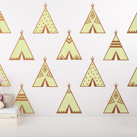 Teepee Wall Decals - 2-Color Nursery Decals, Triangle Decals, Geometric Decals, Modern Wall Decals, Unique Wall Decor