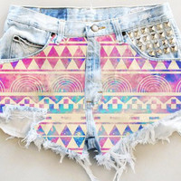 Studded Aztec High Waisted Denim Shorts