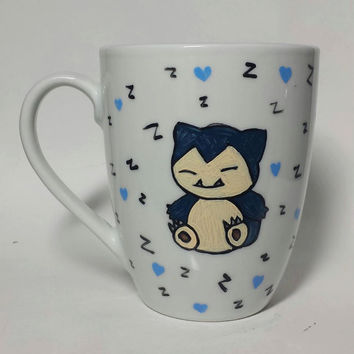 Pokemon Snorlax One Of A Kind Hand Painted Mug