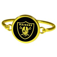 Oakland Raiders Gold Tone Bangle Bracelet