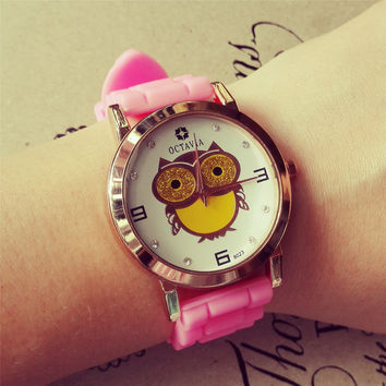 Yan & Lei Soft Silicone Belt Round Dial Quartz Watch with Cute Owl in 3 colors
