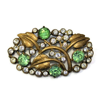 1930's Green And Clear Rhinestone Leaf Brooch, Gold Enamel