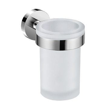 DAX-GDC120152 / DAX VALENCIA BATHROOM SINGLE TUMBLER TOOTHBRUSH HOLDER, WALL MOUNT, TEMPERED GLASS CUP, BRUSHED NICKEL OR CHROME FINISH, 3 X 4-3/4 X 4-7/16 INCHES
