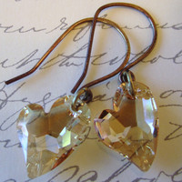 Swarovski Crystal Heart Earrings by 636designs on Etsy