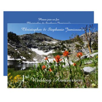 1st Wedding Anniversary Invitation, Wildflowers Card