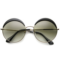 Oversize Women's Round Eye Lid Fast Fashion Sunglasses 9789