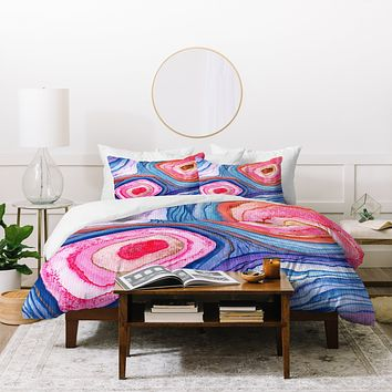 Viviana Gonzalez AGATE Inspired Watercolor Abstract 04 Duvet Cover