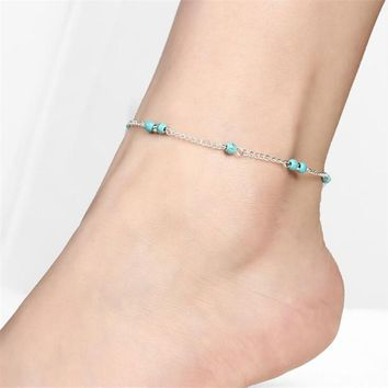 ON SALE - Petite Turquoise Beads Silver Anklet