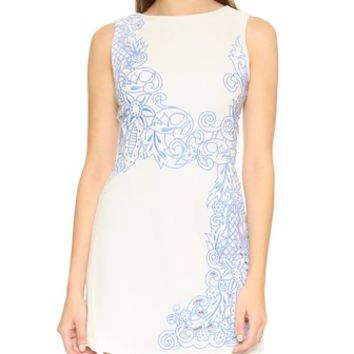 Malin Embroidered Boat Neck Dress