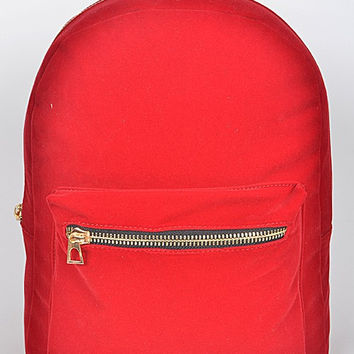 Gold Zipper Red Backpack
