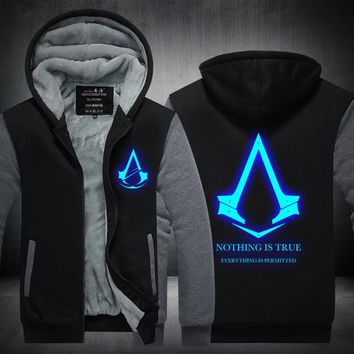 2016New Winter Fashion Luminous pattern Assassin Creed  Hoodie Zipper Sweatshirt Ticken Cool Hoodies Men USA EU size Plus size
