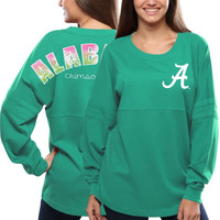 Alabama Crimson Tide Women's Pacific Impact Pom Pom Long Sleeve T-Shirt – Teal