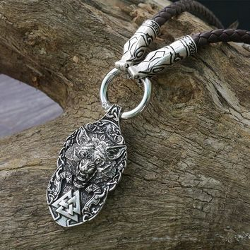 lanseis 1pcs dropshipping viking wolf pendant Wolf Totem men necklace the wolf protect me