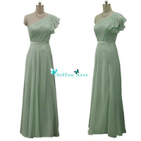 Light green One shoulder Long Chiffon Prom Dress Bridesmaid Dress Party Dress Simple Homecoming Dress Formal Prom Dress Custom Size