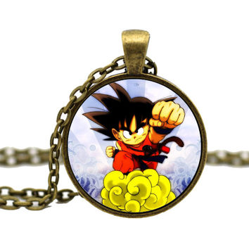 Dragon Ball Songoku Ancient Bronze Glass Cabochon Necklace ML1022