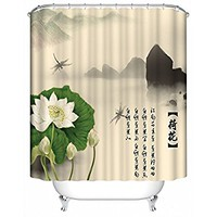 Panoramic Print with Lotus Leaf and Mountains Shower Curtain. Spa Decor Kin By Nicola, Water Resistant Bathroom Zen Garden Theme Decor View for Magical and Luxurious Bathroom