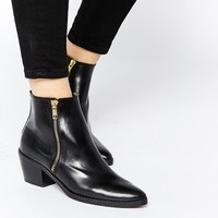 H by Hudson Azi Black Leather Ankle Boots