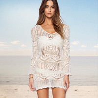 White Crochet Long Sleeve Beach Dress
