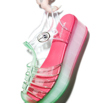 Wanted Icepop Platform Sandals Green/Pink