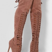 Tolkien Mocha Suedette Over The Knee Boots | Pink Boutique