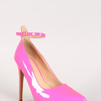 Liliana Doris-4 Patent Ankle Strap Pointy Toe Pump