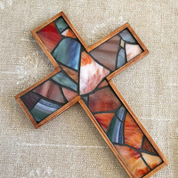 Handmade Rustic Wooden Wall Cross, Red Blue Stained Glass Mosaic Wall Cross, Primitive Earthy Crucifix