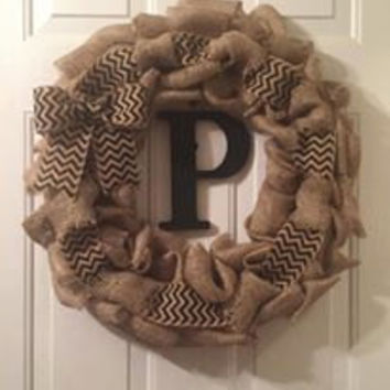 Monogrammed Burlap Wreath, Chervon Print Burlap, Primitive Decor, Last Name initial Wreath, Chervon Ribbon