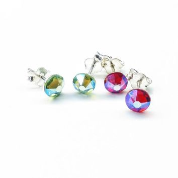2 Pair Sterling Silver Red and Green Crystal Ear Studs