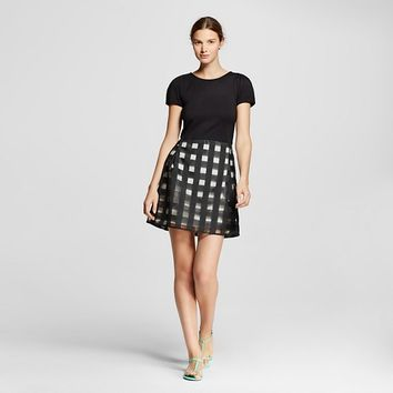 Women's Check T-Shirt Fit and Flare Dress Black/White - Allen B