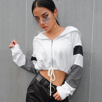 women casual fashion waist tie tunic stripes zipper fly crop hoodie top female crop sweatshirt polerones jumper jacket WC2817M07