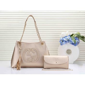 GUCCI Newest Popular Women Leather Handbag Shoulder Bag Crossbody Satchel Wallet Purse Two Piece Set Golden
