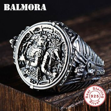 BALMORA 925 Sterling Silver Egyptian Pharaoh Open Rings for Men Vintage Thai Silver Fashion Jewelry High Quality Anillos SY22134