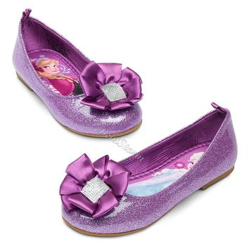 Licensed cool NEW Disney Store Frozen ANNA and ELSA Purple FLAT Shoes Costume Dress Up Size 7