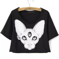 Black Animal Print Crop Shirt in Black