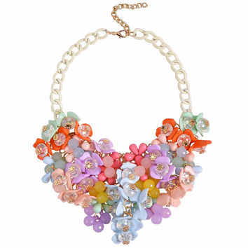 Flower Blooming Statement Necklace