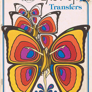 Easy Iron On Transfers 1960s Vintage Hippy Flower Child Butterfly Football Player Fish Race Car Embroidery Paint Fabric Transfer Patterns