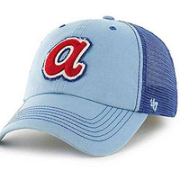 MLB Atlanta Braves Taylor Closer Mesh Stretch Fit Hat, Columbia, One Size