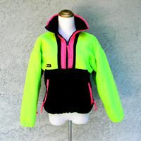 Neon Fleece Jacket, Vintage 80s 90s COLUMBIA Brand Yellow and Pink Outdoor Ski Zip Up Bomber Jacket, 80's 90's Hip Hop Party, Womens S Small