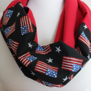 USA Colors Scarf, Red Blue White Scarf, Flag Scarf, Flag, American Flags, Red Infinity Scarf, USA Scarf, Gift For Her, Fourth of July Scarf