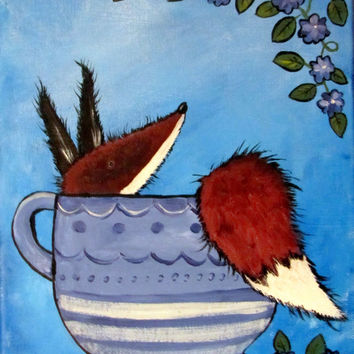 Kids Wall Art Original Nursery Painting, Fox in Teacup, Kitchen Art, Childrens Room Decor, Whimsical Storybook Artwork