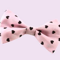 Beautiful Creepy Cute Pink Black Heart Hair Bow Pastel Goth