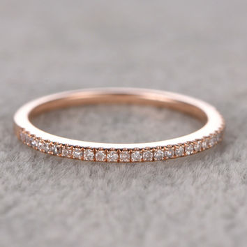 Diamond Wedding Rings For Her 14k Rose Gold Thin Pave Half Eternity Band Stacked Ring