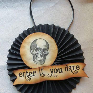 Halloween SKULL door or wall medallion - enter if you dare